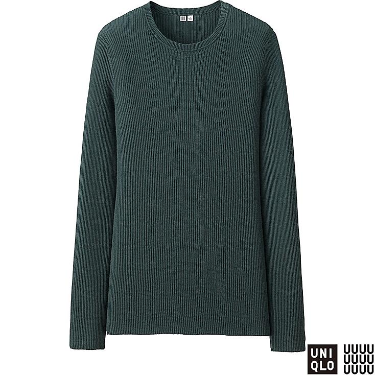 WOMEN U CASHMERE RIBBED CREWNECK SWEATER, DARK GREEN, large