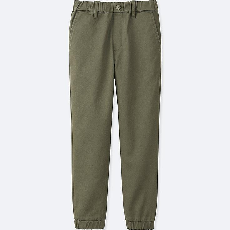 BOYS TWILL JOGGER PANTS, DARK GREEN, large
