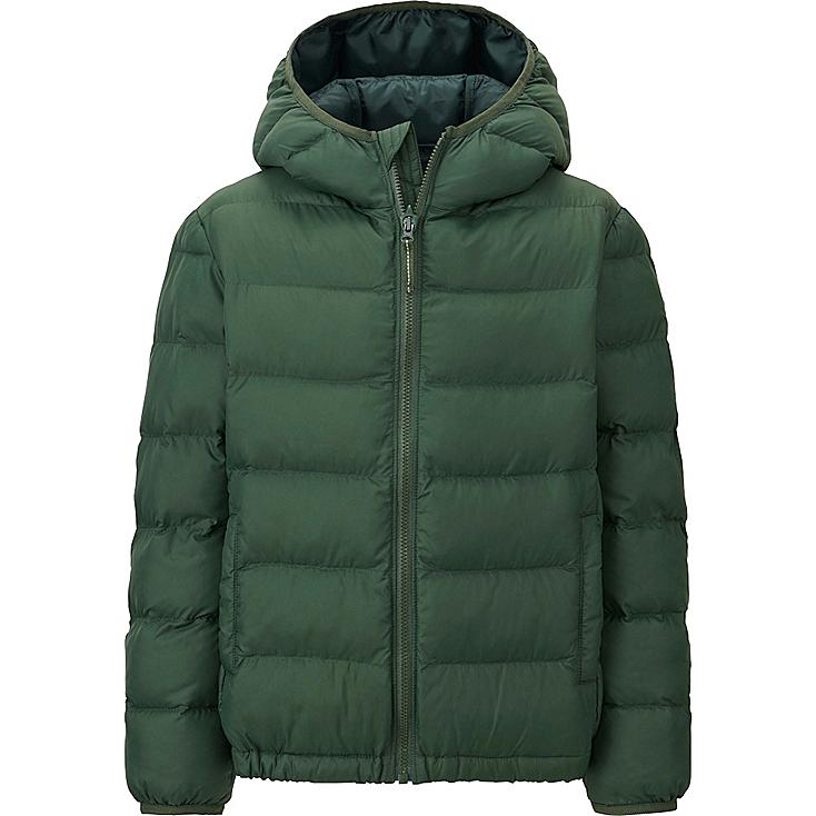 BOYS LIGHT WARM PADDED PARKA, DARK GREEN, large