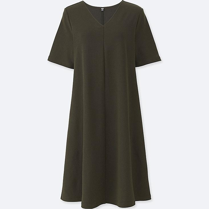 WOMEN MILANO RIBBED V-NECK DRESS, DARK GREEN, large
