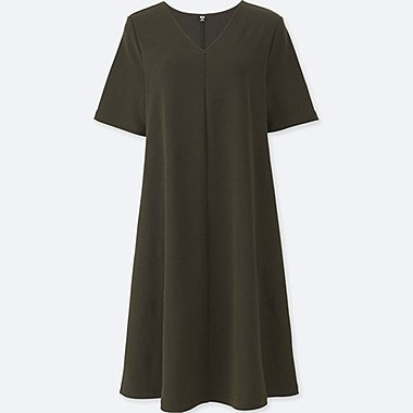 WOMEN MILANO RIBBED V-NECK DRESS, DARK GREEN, medium