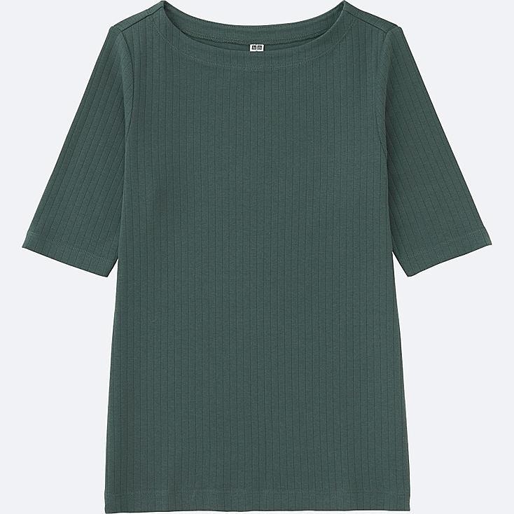 WOMEN RIBBED BOAT NECK HALF SLEEVE T-SHIRT, DARK GREEN, large