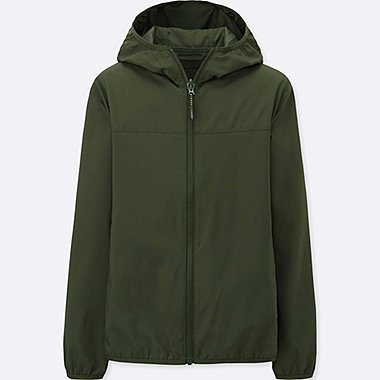 KIDS LIGHT POCKETABLE PARKA, DARK GREEN, medium