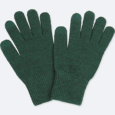 MEN HEATTECH KNITTED GLOVES, DARK GREEN, medium