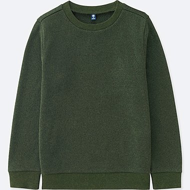 KIDS KNITTED FLEECE CREWNECK LONG-SLEEVE T-SHIRT, DARK GREEN, medium