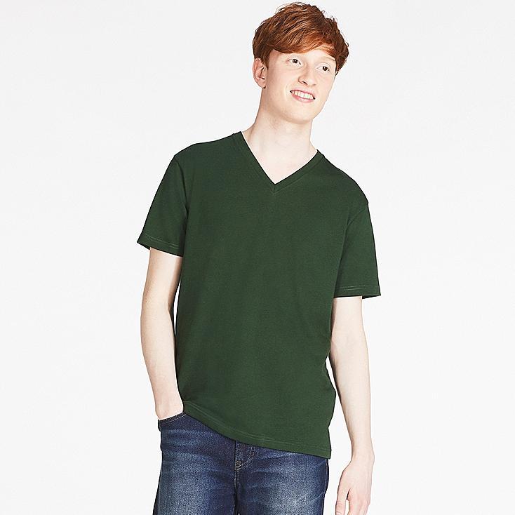 MEN PACKAGED V-NECK SHORT-SLEEVE T-SHIRT, DARK GREEN, large