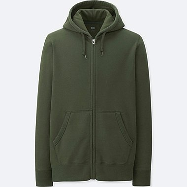 MEN LONG-SLEEVE SWEAT FULL-ZIP HOODIE, DARK GREEN, medium