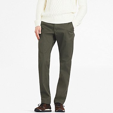 MEN BLOCKTECH SLIM-FIT CHINO FLAT-FRONT PANTS, DARK GREEN, medium