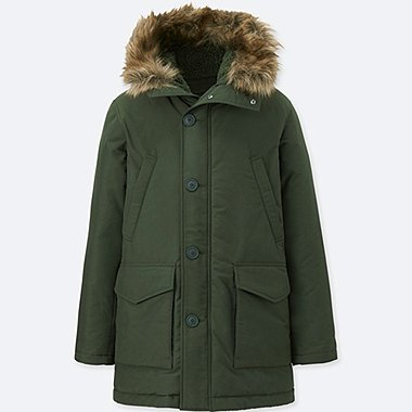 MEN WARM TECH DOWN COAT, DARK GREEN, medium