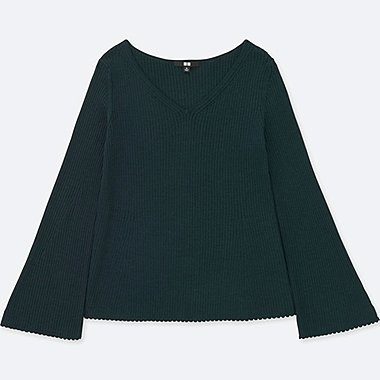 WOMEN MERINO BLEND BELL SLEEVE SWEATER