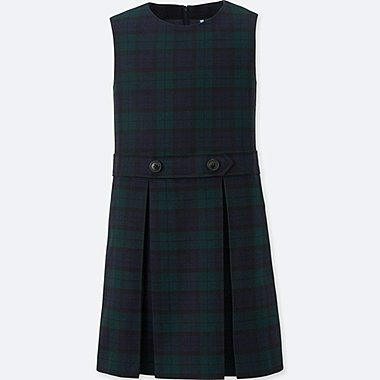 GIRLS CHECKED JUMPER DRESS