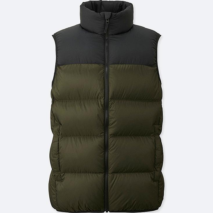 MEN LIGHT DOWN VEST (ONLINE EXCLUSIVE), DARK GREEN, large
