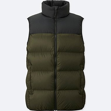 MEN LIGHT DOWN VEST (ONLINE EXCLUSIVE), DARK GREEN, medium