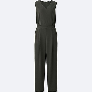 WOMEN CUT & SEWN V-NECK JUMPSUIT, DARK GREEN, medium