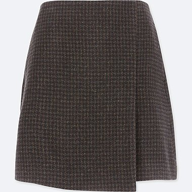 WOMEN WOOL BLENDED WRAP MINI SKIRT