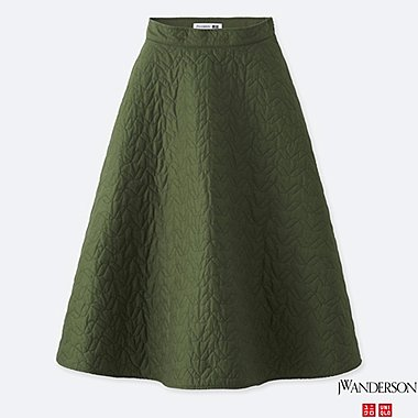 WOMEN JWA QUILTED SKIRT, DARK GREEN, medium