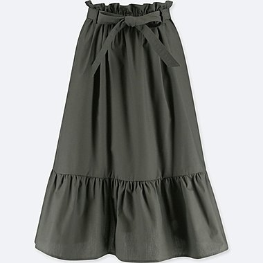 WOMEN HIGH WAIST RIBBON FRILL SKIRT