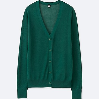 WOMEN LIGHT V-NECK CARDIGAN, DARK GREEN, medium