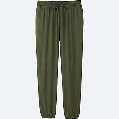 WOMEN DRAPE PANTS, DARK GREEN, medium