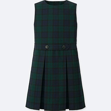 GIRLS CHECKED JUMPER DRESS, DARK GREEN, medium