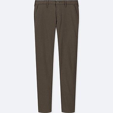 MEN WINDPROOF STRETCH SLIM-FIT CHINO PANTS, DARK GREEN, medium