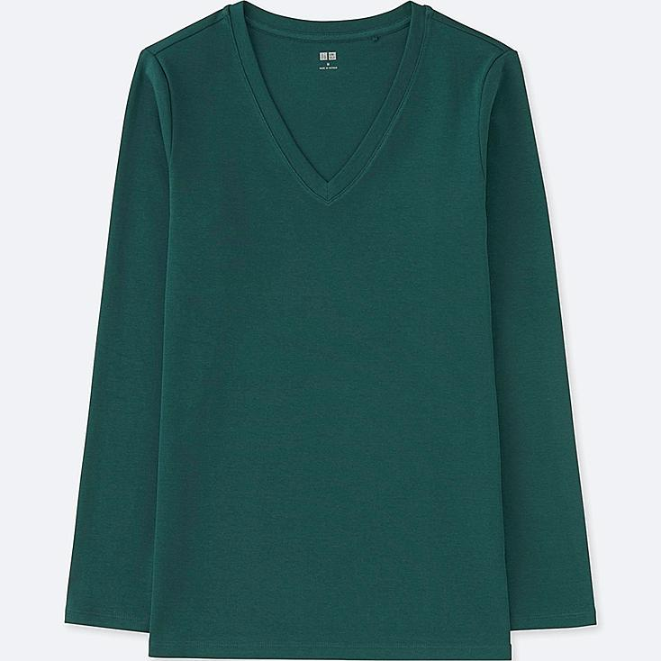 WOMEN COMPACT COTTON V-NECK LONG-SLEEVE T-SHIRT, DARK GREEN, large
