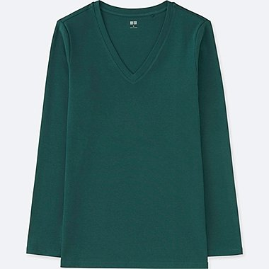 WOMEN COMPACT COTTON V-NECK LONG-SLEEVE T-SHIRT, DARK GREEN, medium
