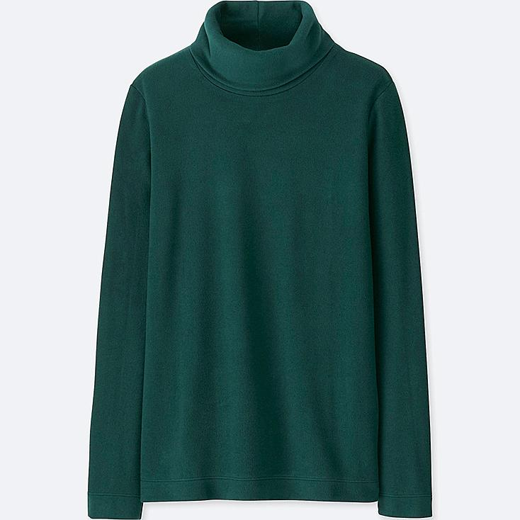 WOMEN HEATTECH FLEECE TURTLENECK LONG-SLEEVE T-SHIRT, DARK GREEN, large