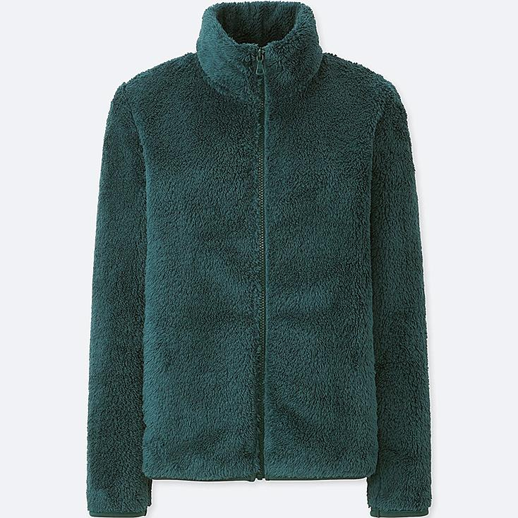 WOMEN FLUFFY YARN FLEECE FULL-ZIP JACKET, DARK GREEN, large
