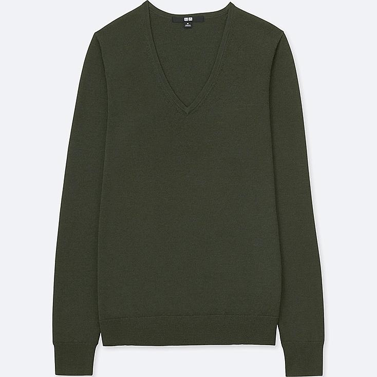 WOMEN EXTRA FINE MERINO V-NECK SWEATER, DARK GREEN, large