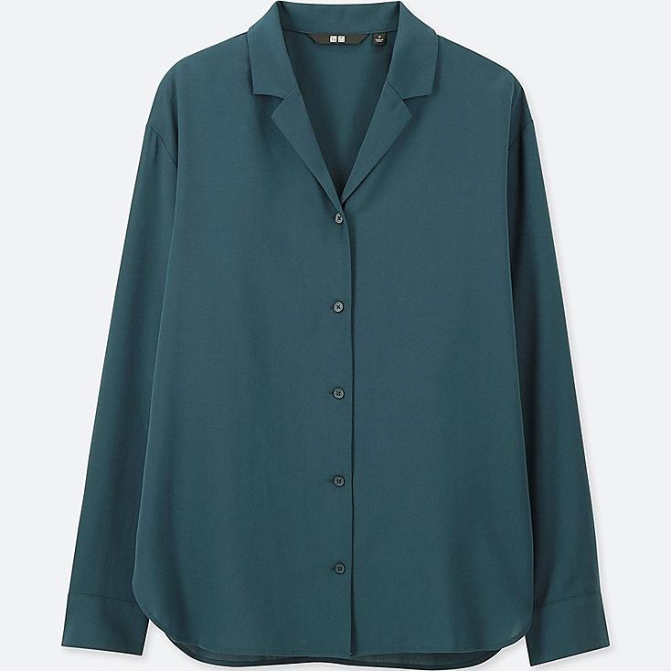 Women Rayon Open Collar Long Sleeve Blouse by Uniqlo