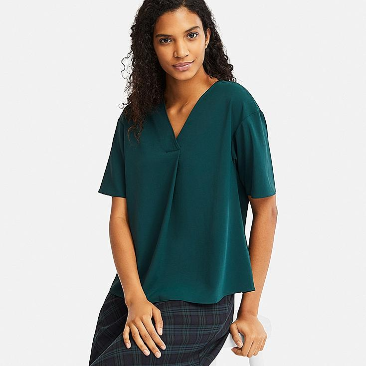 WOMEN DRAPE V-NECK SHORT-SLEEVE BLOUSE | Tuggl