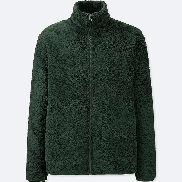MEN FLUFFY YARN FLEECE FULL-ZIP JACKET, DARK GREEN, large
