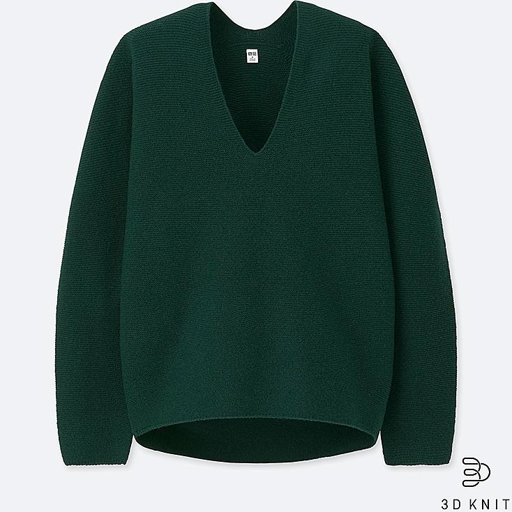 WOMEN 3D PREMIUM LAMBSWOOL SWEATER, DARK GREEN, large