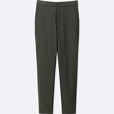WOMEN WINDPROOF WARM-LINED PANTS, DARK GREEN, medium