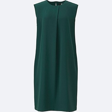 WOMEN DRAPE SLEEVELESS DRESS, DARK GREEN, medium