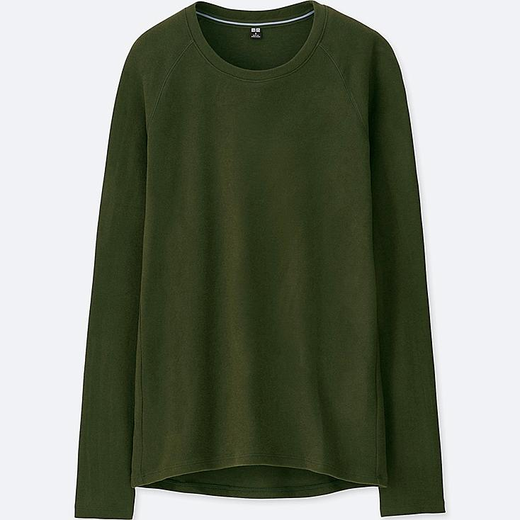 WOMEN HEATTECH STRETCH FLEECE CREW NECK LONG-SLEEVE T-SHIRT, DARK GREEN, large