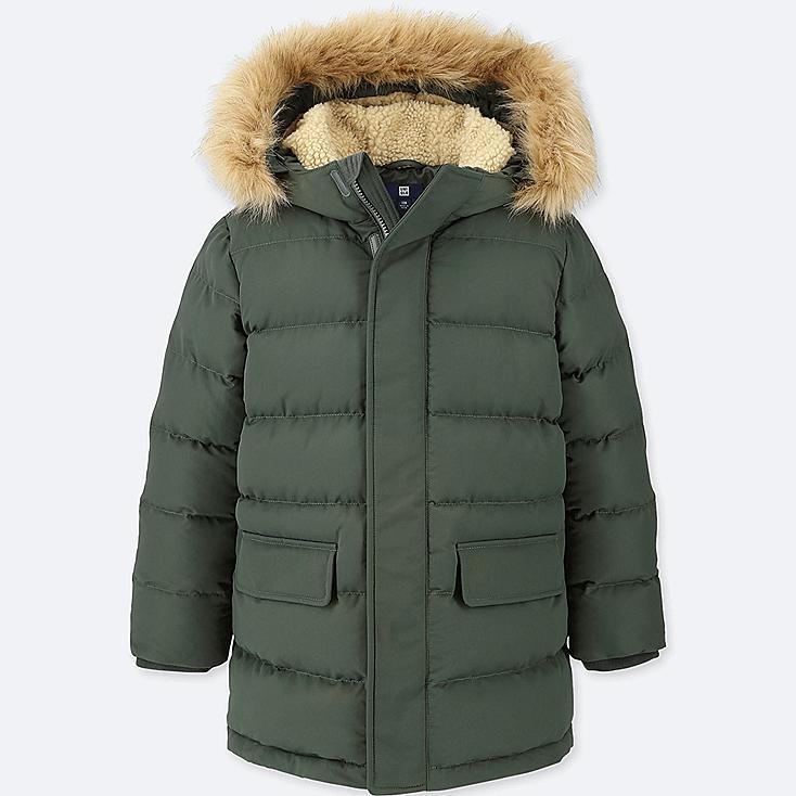 BOYS WARM PADDED COAT, DARK GREEN, large