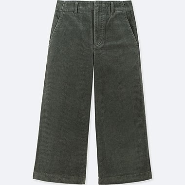 WOMEN CORDUROY WIDE CROPPED TROUSERS