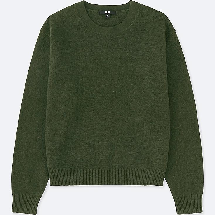 WOMEN PREMIUM LAMBSWOOL CREW NECK SWEATER, DARK GREEN, large