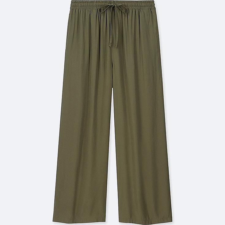 WOMEN DRAPE WIDE PANTS, DARK GREEN, large