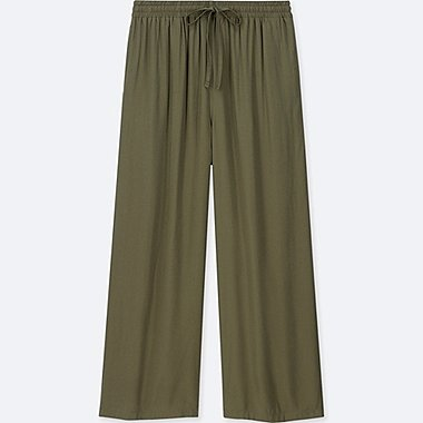 WOMEN DRAPE WIDE PANTS, DARK GREEN, medium