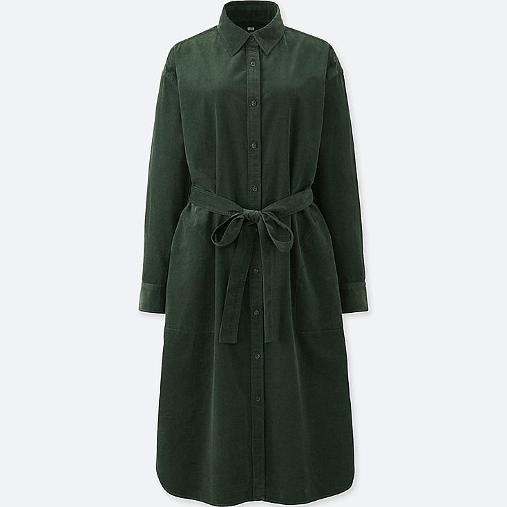 WOMEN CORDUROY LONG-SLEEVE DRESS, DARK GREEN, large
