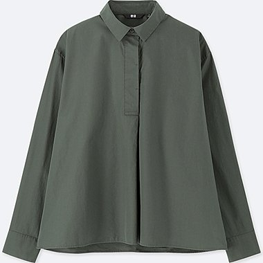 WOMEN EXTRA FINE COTTON A-LINE LONG-SLEEVE SHIRT, DARK GREEN, medium