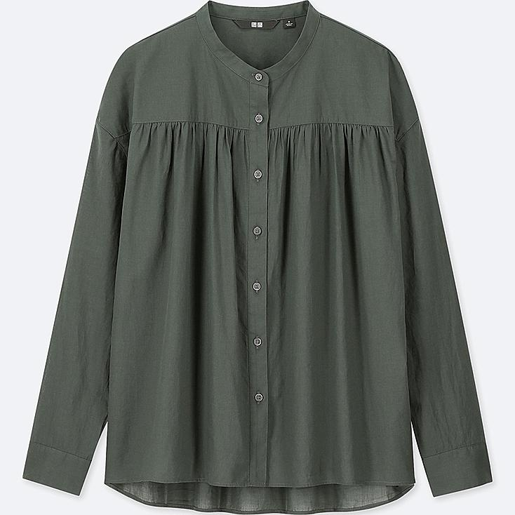 WOMEN SOFT COTTON LONG-SLEEVE BLOUSE, DARK GREEN, large