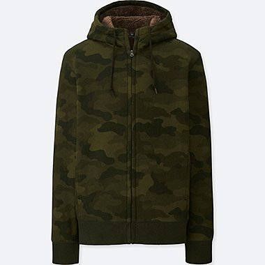 MEN SWEAT FLEECE LINED CAMOUFLAGE PRINT ZIPPED HOODIE