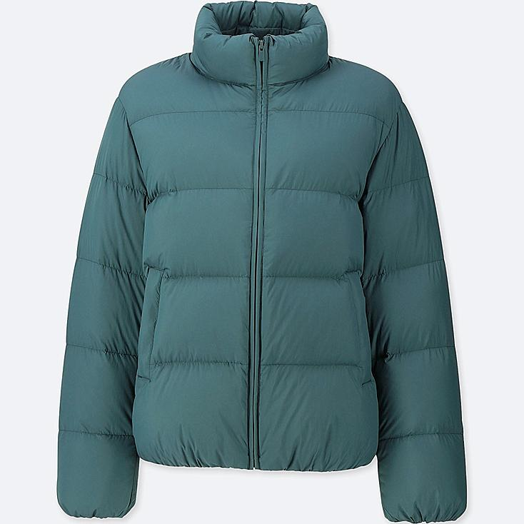 WOMEN ULTRA LIGHT DOWN VOLUME JACKET, DARK GREEN, large