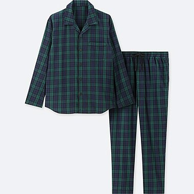 MEN LONG-SLEEVE FLANNEL PAJAMAS, DARK GREEN, medium