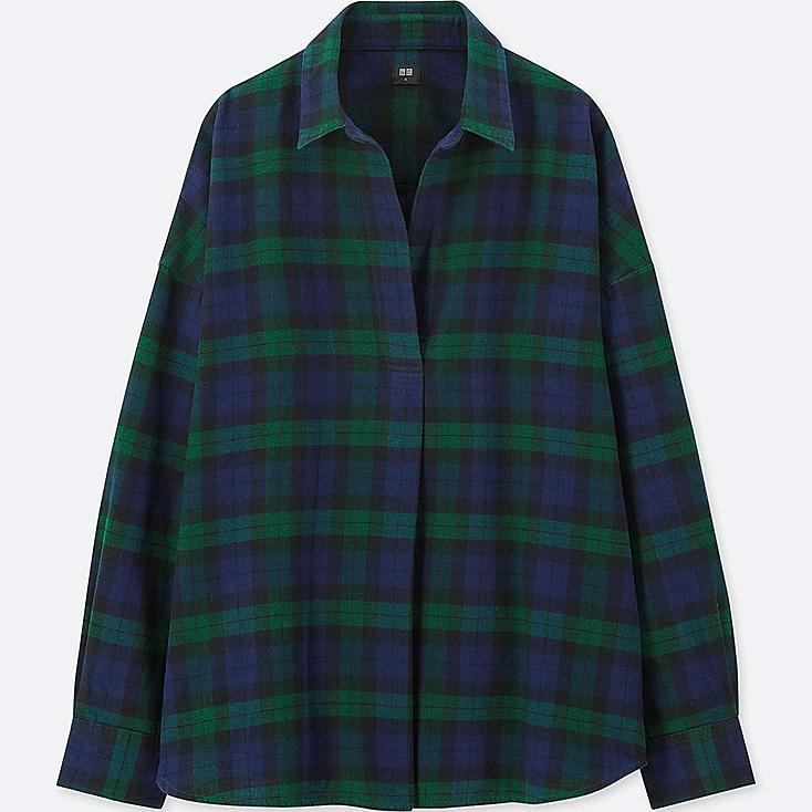WOMEN FLANNEL CHECKED SKIPPER LONG-SLEEVE SHIRT, DARK GREEN, large