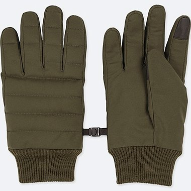MEN HEATTECH-LINED QUILTED GLOVES, DARK GREEN, medium